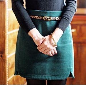 J Crew Emerald Green Mini Skirt Size 0
